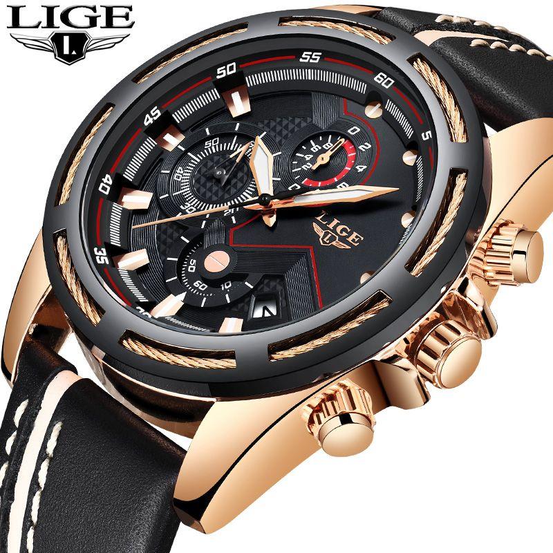 Relogio Masculino Neue Männer Uhren Top-marke Luxus Chronograph Mode Sport Uhr Männer Leder Militärische Wasserdichte Quarzuhr