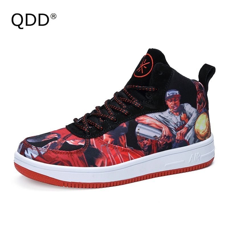 QDD Concept Skateboarding Shoes, Street Punk Trendy Smoking Men Style Skateboard Shoes, Cotton Lace Wearable Sole Sports Shoes.