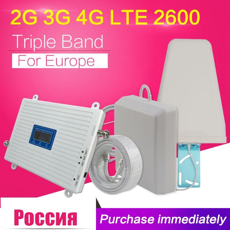 2G 3G 4G GSM 900 WCDMA FDD LTE 2600 Cell Phone Signal Booster GSM 3G 4G LTE 2600 Repeater 900 2100 2600 Cell Phone 2600 Booster