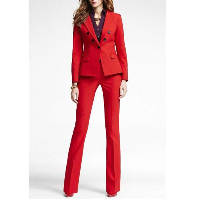 Red 2 piece set women business suits blazer with pants ladies office uniform formal pant suits for weddings tuxedo CUSTOM