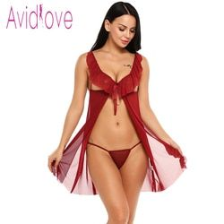 Avidlove Sex Clothes Lace Mesh Ruffled Nightwear Dress Women Babydoll Lingerie Sexy Hot Erotic Underwear Sleepwear Porn Costume