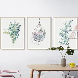 Succulent Plants Nordic Poster Leaf Cactus Flowers Wall Art Print Posters And Prints Canvas Painting Quadro Pictures Unframed