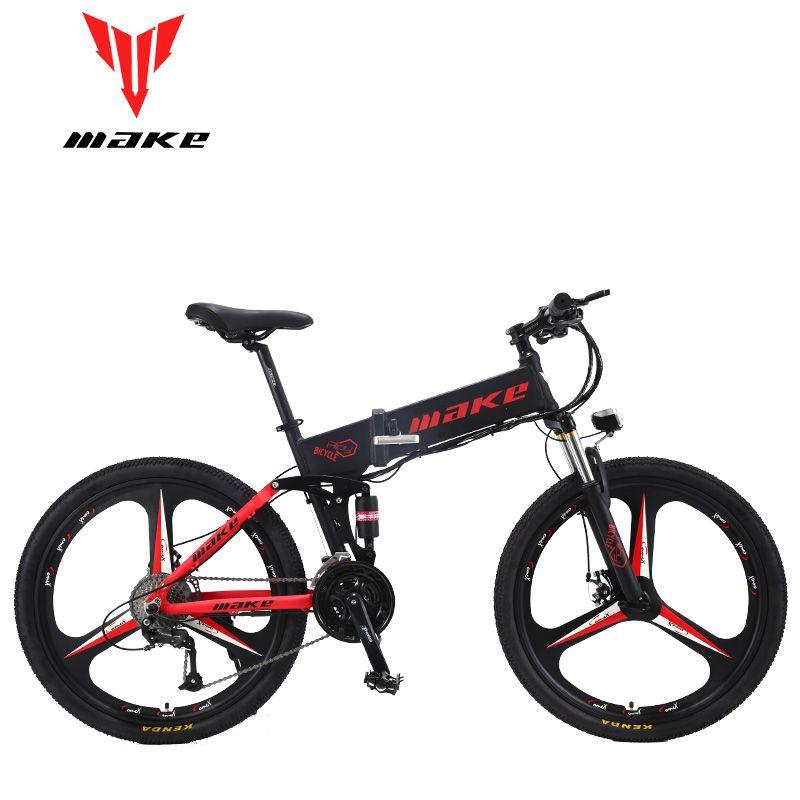 MACHEN Berg Elektrisches Fahrrad Full Suspension Alluminium Klapp Rahmen 27 Geschwindigkeit Shimano Altus Mechaniker Bremse 26 Rad