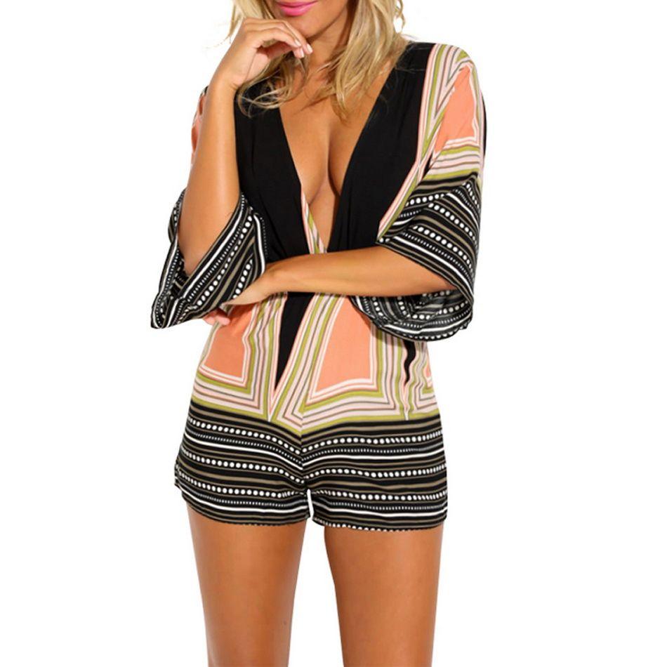 2018 Romper Sexy Women Jumpsuit Deep V neck Print Backless 3/4 Sleeve Rompers Short Playsuit Summer Beach Overalls Bodysuit