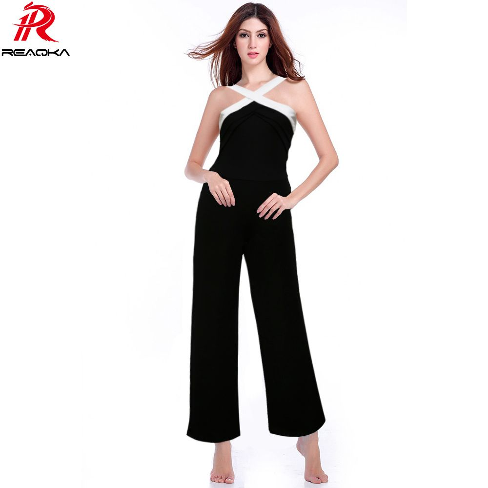 Sexy Backless Rompers Womens Jumpsuit 2018 Night <font><b>Club</b></font> Plus Size Playsuits Wide Leg Halter Ladies Elegant Overalls Jumpsuits