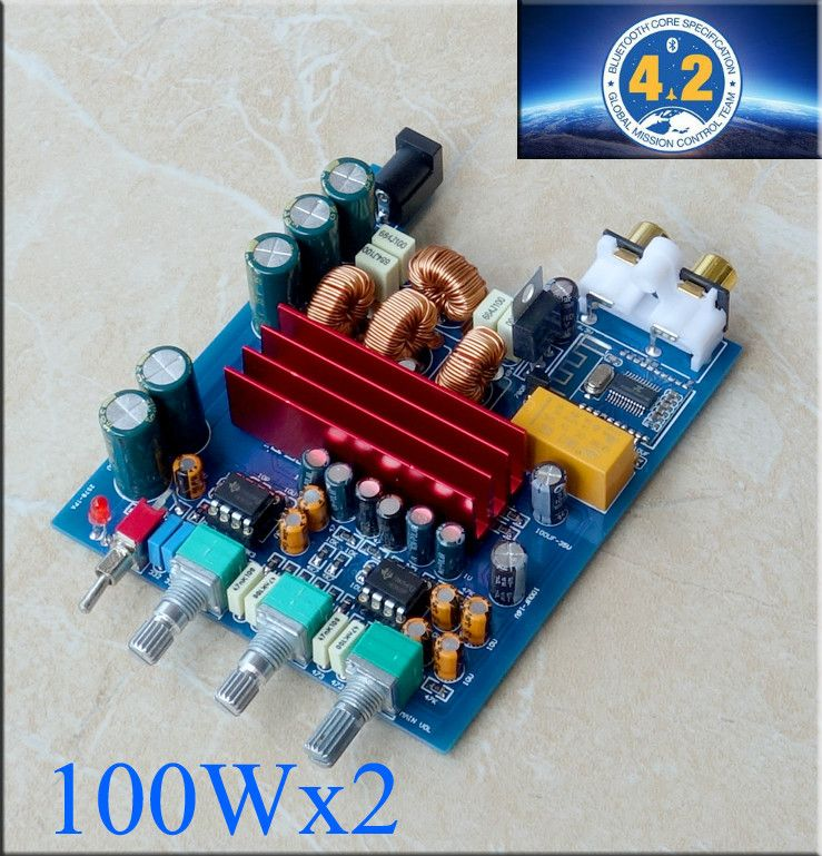 Protable TPA3116 Bluetooth Amplifier Board 100W*2 TPA3116D2 2.0 Digital AMP With Preamplifier adjust Car Home Use DC24V