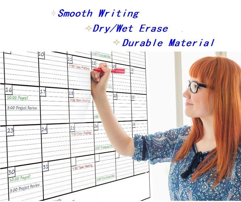 60cmx80cm Week Planner Month Chart Large Dry Wet Erase Sticker Calendar Plans Schedule Erasable Marker Eraser Decals White