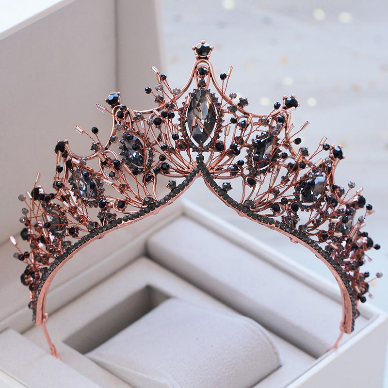 KMVEXO Baroque Rose Gold Black Crystal Bridal Tiara Rhinestone Diadem Pageant Crown for Brides Headband Wedding Hair Accessories