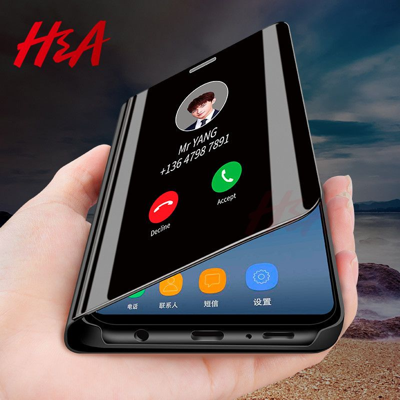 Smart Mirror Flip Phone Case For Samsung Galaxy S8 S9 S7 S6 Edge Plus Clear View Cover For Samsung Galaxy Note 9 8 5 4 3 Case