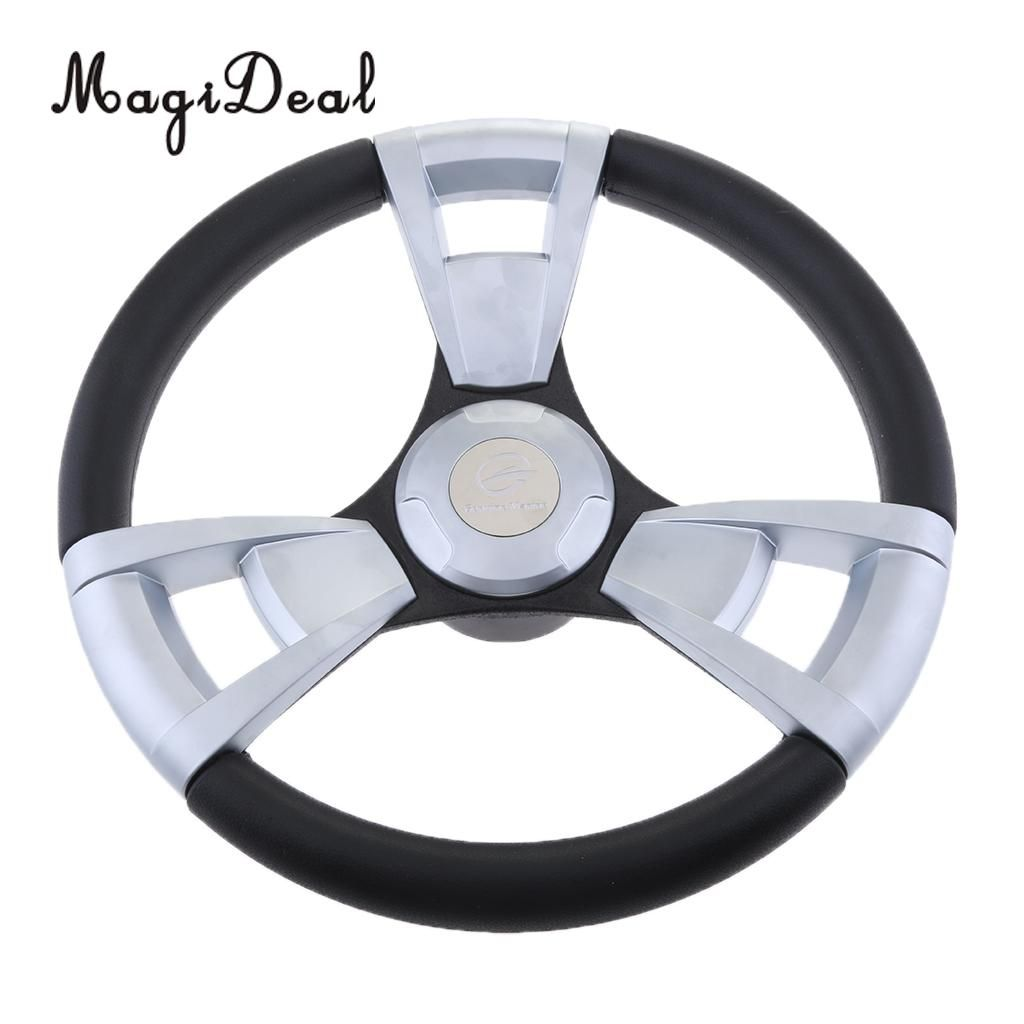Marine Durable 350mm 3/4'' Steering Wheel with Matte Chromed Spokes for Marine Canoe Kayak Boat Yacht Dinghy Accessories