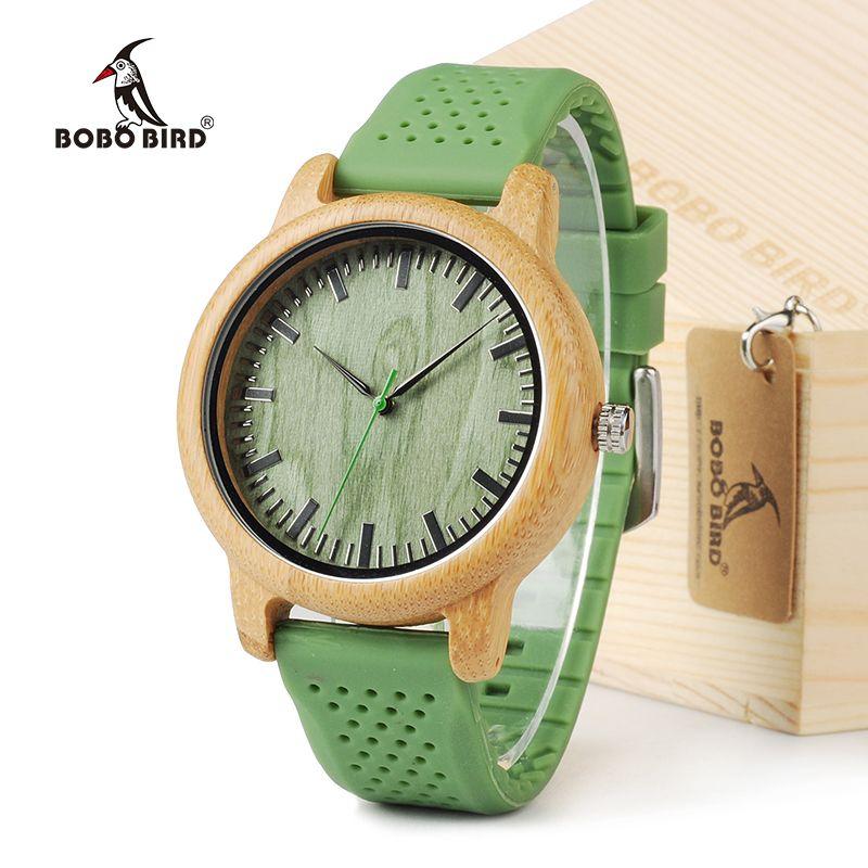 Бобо птица B06 Для мужчин кварцевые часы с силиконовым ремешком зеленый деревянный бамбука Повседневное японский двигаться Для мужчин t часы...