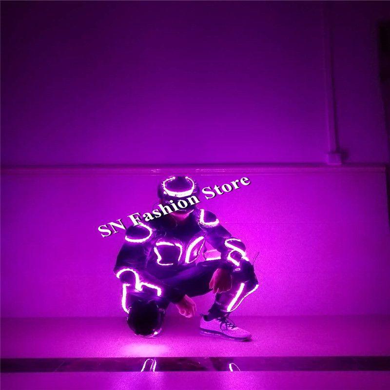 KJ001 с маской RGB Красочные мужские с подсветкой костюм DJ Light одеть светящиеся бальных танцев робот костюм этап выступлений