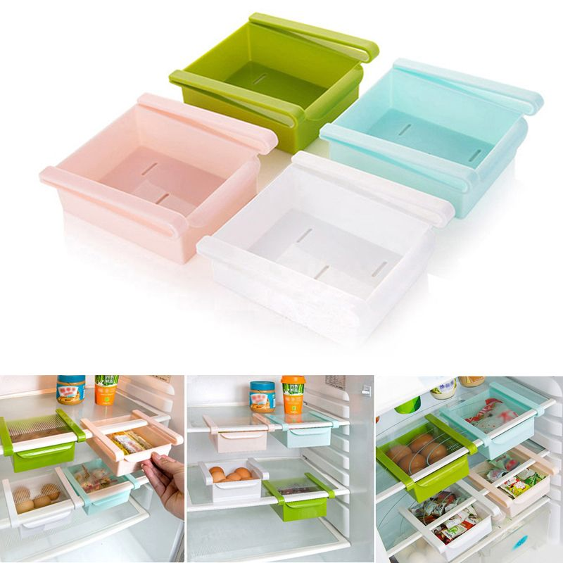 Mini ABS Slide Kitchen Fridge Freezer Space Saver Organization Storage Rack Bathroom Shelf 15*12*3cm