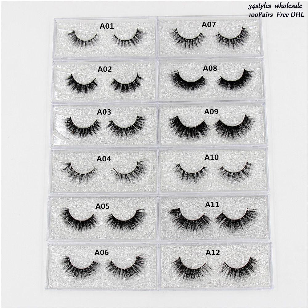 Mink Eyelashes 100% cruelty free 3D Mink Lashes Thick HandMade Full Strip Lashes Natural Lightweig 34Styles False eyelashes DHL