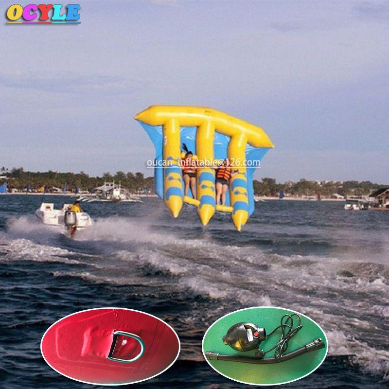 OCYLE freie luft verschiffen + 1 stück luftpumpe, 6 personen/sitze aufblasbare fliegende wasser banana boot, aufblasbare fliegende fische/flyfish meer spiele