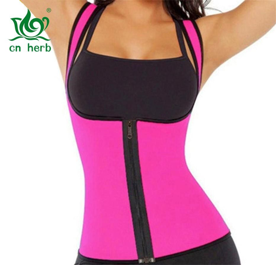 Cn herbe Zipper Style dames sport Sweat gilet minceur corps sculpture vêtements néoprène caoutchouc taille Corset