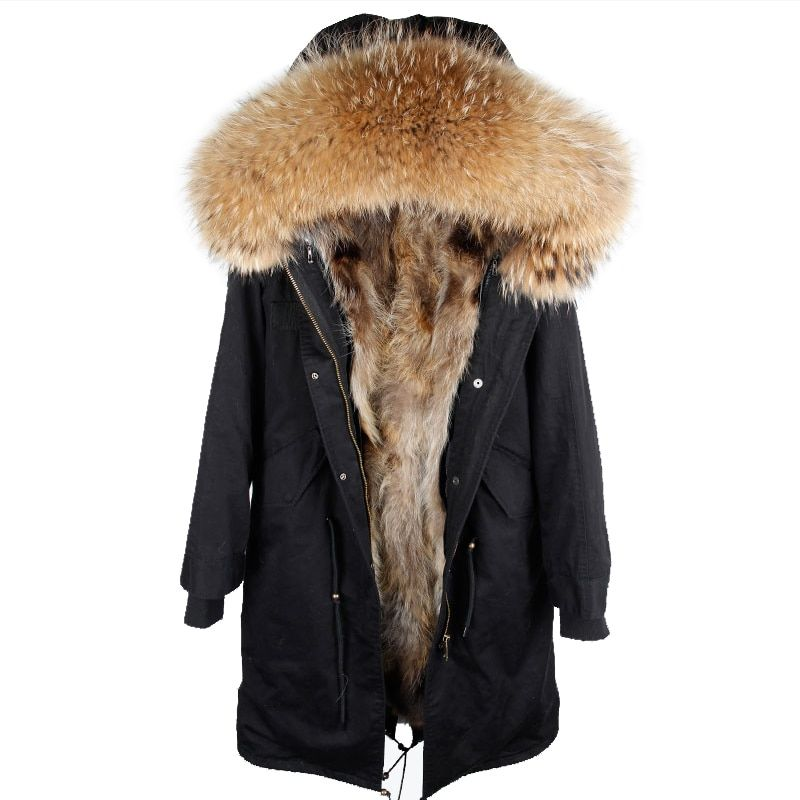 2018 new winter jacket women x-long over the knee parka real fur coat big raccoon fur collar hooded outwear thick warm parkas