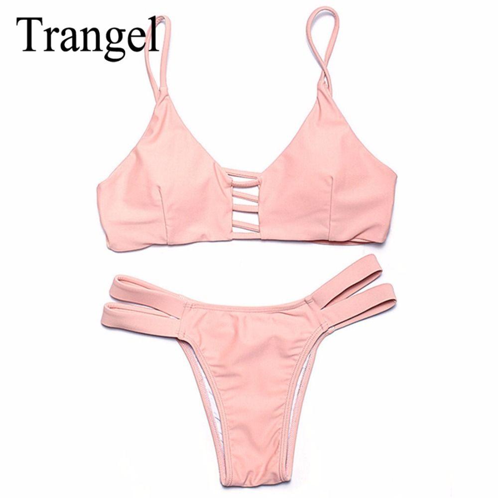 Trangel Sexy Push Up Bikini Set 2017 Women Swimwear Tops and Bottoms Two-Piece Separates Swimsuit Summer Thong Bikini Beach Wear