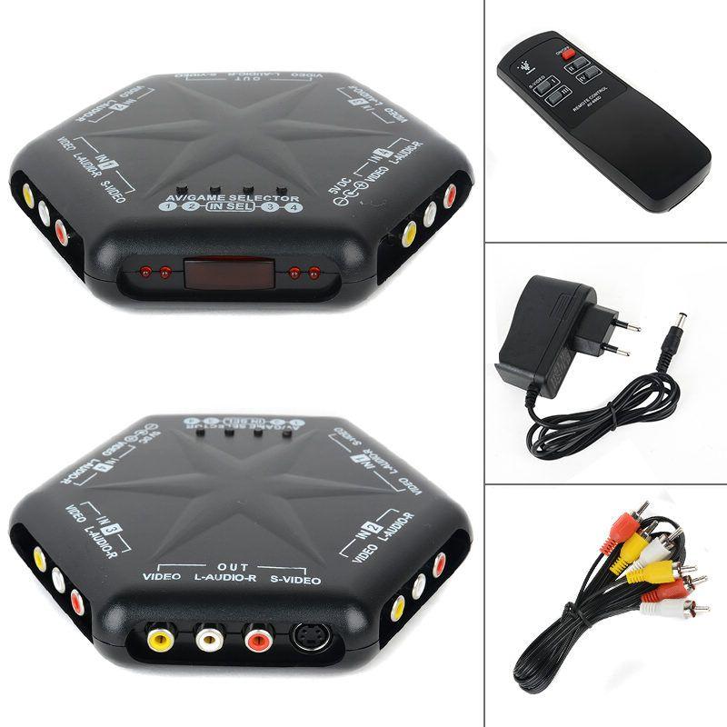 Mayitr Nouveau 4 en 1 out S-Vidéo Vidéo Audio Jeu RCA AV Switch Box Sélecteur Splitter + À Distance contrôle