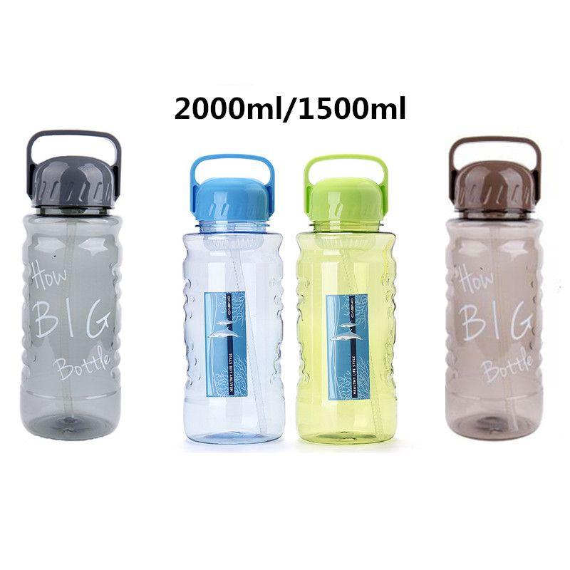 Sans Bpa 1500 ml/2000 ml Portable paille Sports bouteille d'eau en plein air grande capacité voyage Camping bouilloire avec poignée de passoire à thé