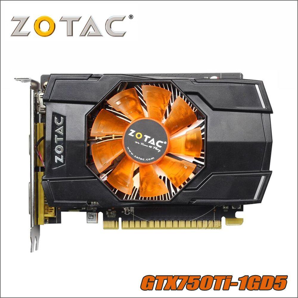 D'origine ZOTAC Carte Vidéo GeForce GTX 750 Ti 1 gb 128Bit GDDR5 1GD5 Cartes Graphiques pour nVIDIA 1050 GTX750 Ti 1GD5 Hdmi Dvi VGA