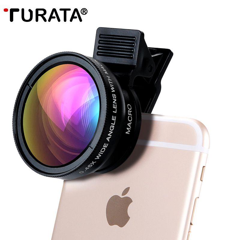 TURATA Handy-kamera-objektiv, 2 in 1 Professionelle HD Kamera Objektiv Kit [0.45X Weitwinkel + Super-makro-objektiv] Clip-on Design für Smartphones