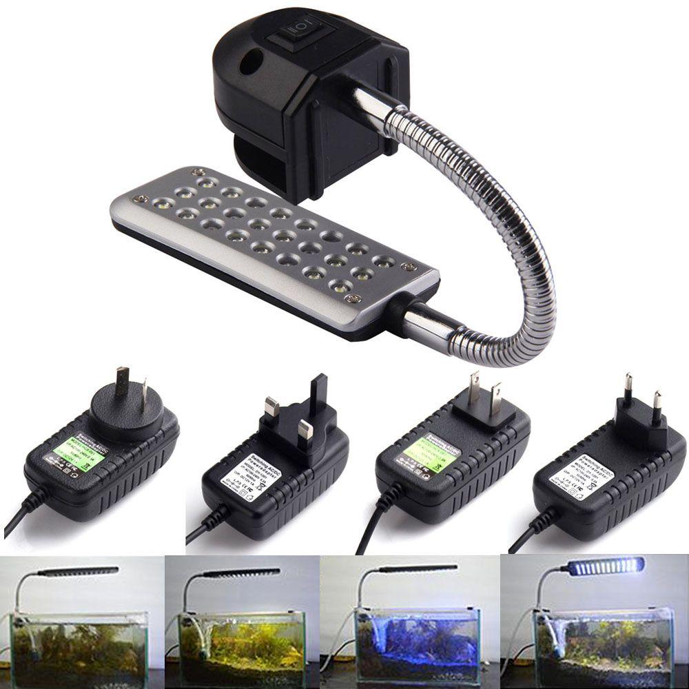 Hight Qualité 24 Led Aquarium Bocal À Poissons Clip Lumière Lampe Pour Corail Récif aquatiques animaux Shpping Libre FG