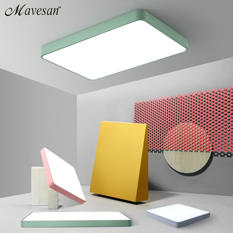 Macaroon Square Ceiling Lights for living room bedroom 5cm height LED Ceiling Lamp Dimmable Color Fixtures Lustre