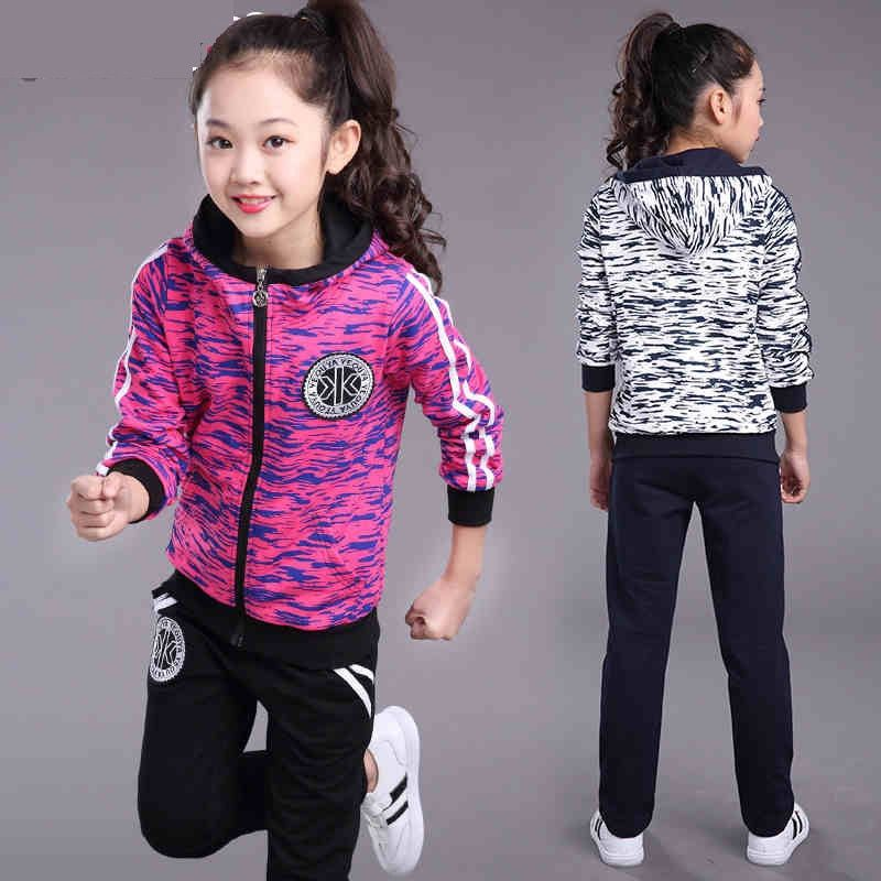 girls clothing set 2018 Spring Autumn new children's camouflage long-sleeved sports suit hooded jacket + pants 4-14 years old