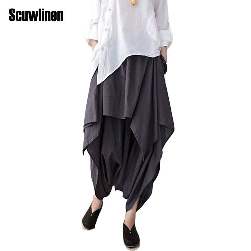 SCUWLINEN 2018 Women Pants Cotton Linen Ruffled Harem Pants Women Pantalon Femme Trouser Women Camouflage Casual Pants Women S66