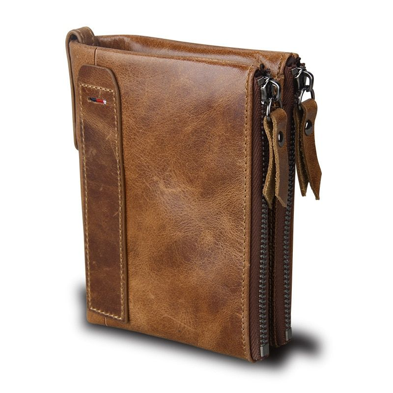 Business Men Short Wallets Natural Real Leather Male Cow Genuine Leather Cash Purses Clutch New Fashion Crazy Horse Skin Wallet