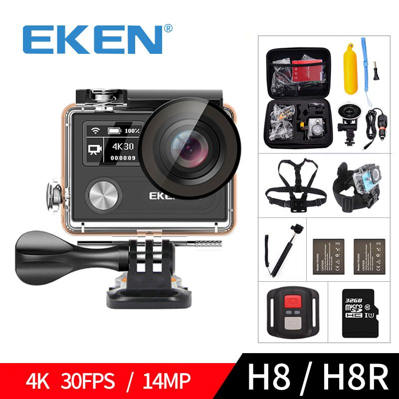 EKEN H8 H8R Ultra HD 4K 30FPS WIFI Action Camera 30M waterproof 14MP 1080p <font><b>60fps</b></font> DVR underwater go Helmet extreme pro sport cam