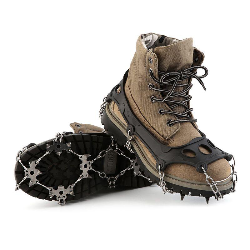 2 Stücke Eis schuhe greifer Eis klaue Outdoor Vierzehn Zähne Gebündelt Steigeisen Eis Greifer Wandern Klettern Ausrüstung Für Schnee Förderung
