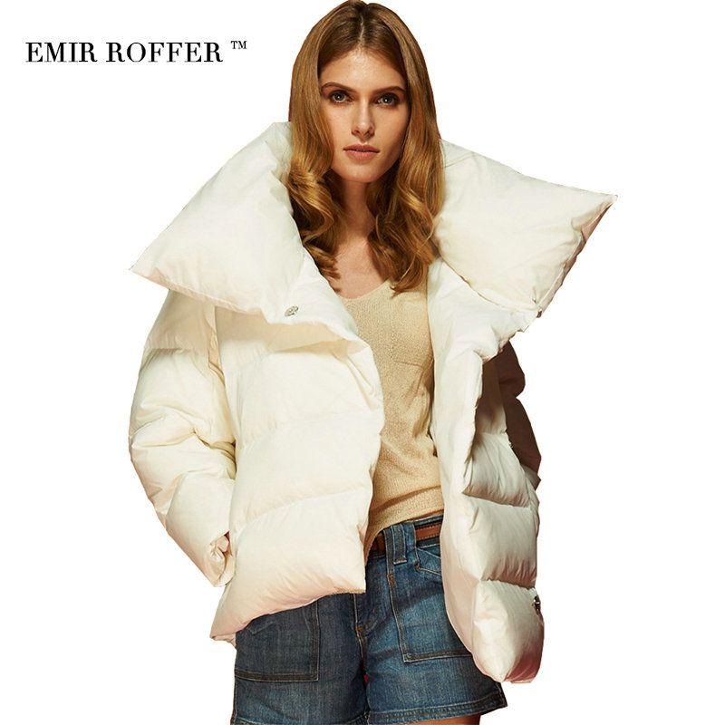 EMIR ROFFER 2017 Winter Weibliche frauen Daunenjacke Parka Mode Asymmetrische Kurzen Warmweiß Damen Mäntel Outwear Große Größe