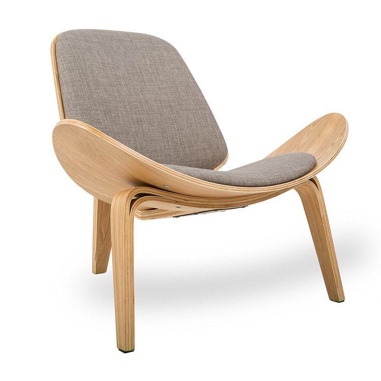 Hans Wegner Style Three-Legged Shell Chair Ash Plywood Linen Fabric Seat Cushion Living Room Furniture Modern Lounge Shell Chair