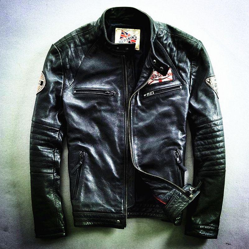 Harley motorcycle rider jacket, slim mens genuine leather jacket, man's genuine leather coat