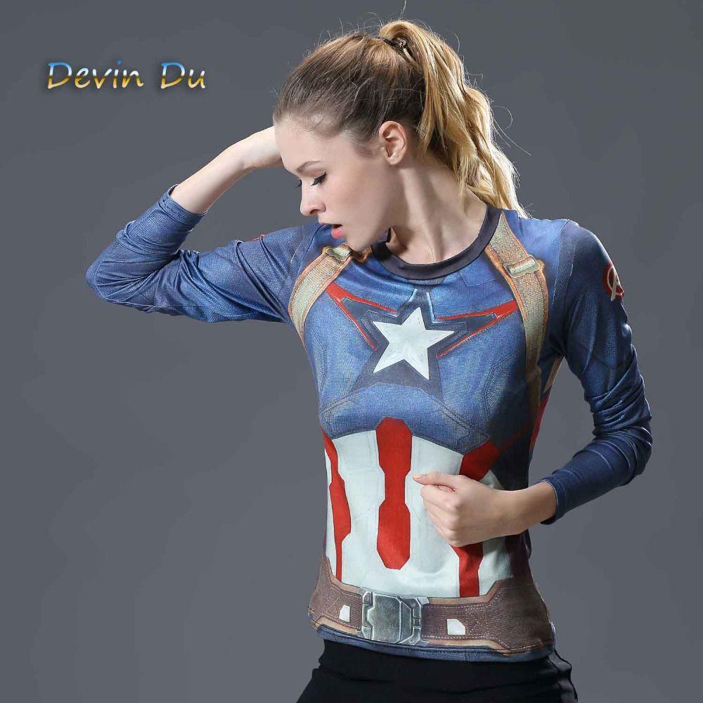 Супермен Футболки Для женщин с длинным рукавом Фитнес впитывает пот женская футболка сжатия Топы корректирующие Camisetas Mujer быстросохнущая