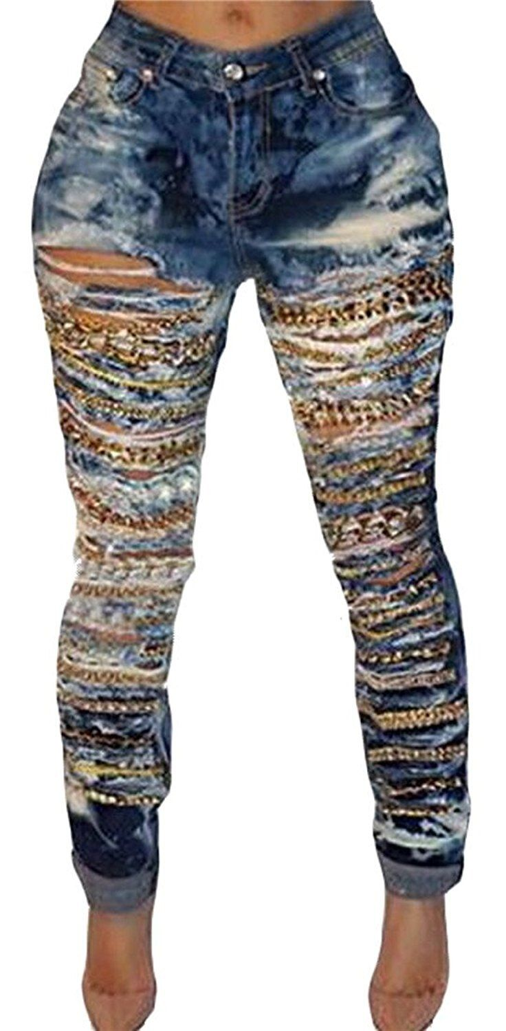 Abetteric Fashion Women's Sexy Washed Waist Denim Chain Ripped Hole Jeans Pant