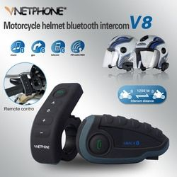 VNETPHONE Helmet Headset Motorcycle Intercom Moto 1200m Helmet Bluetooth Interphone FM 5 People at the Same Time Intercom V8