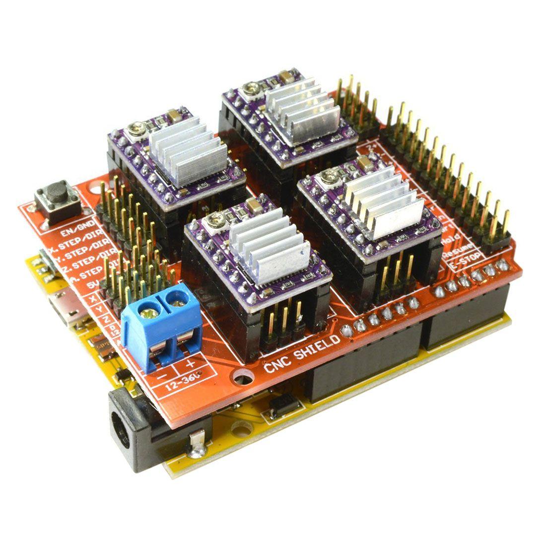 CNC V3 Bouclier + UNO R3 pour Arduino Compatible Conseil + 4x TI DRV8825 StepStick Stepper Pilotes Rouge + violet