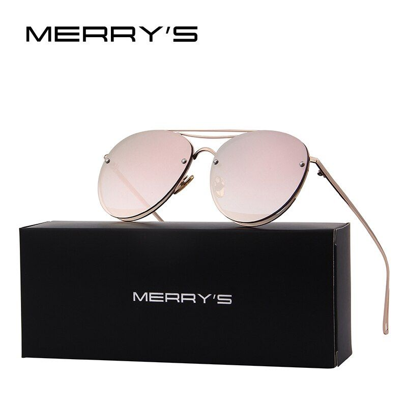 MERRY'S 2017 New Arrival Women Classic Brand Designer Rimless Sunglasses Twin <font><b>Beam</b></font> Metal Frame Sun Glasses S'8096