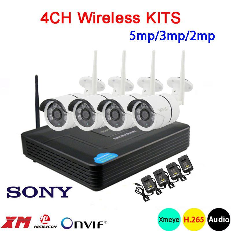 5mp/3mp/2mp sechs array Infrarot ICsee Wasserdichte H.265 25fps 4CH 4 Kanal WIFI Wireless Audio Onvif IP kamera kits Kostenloser Versand