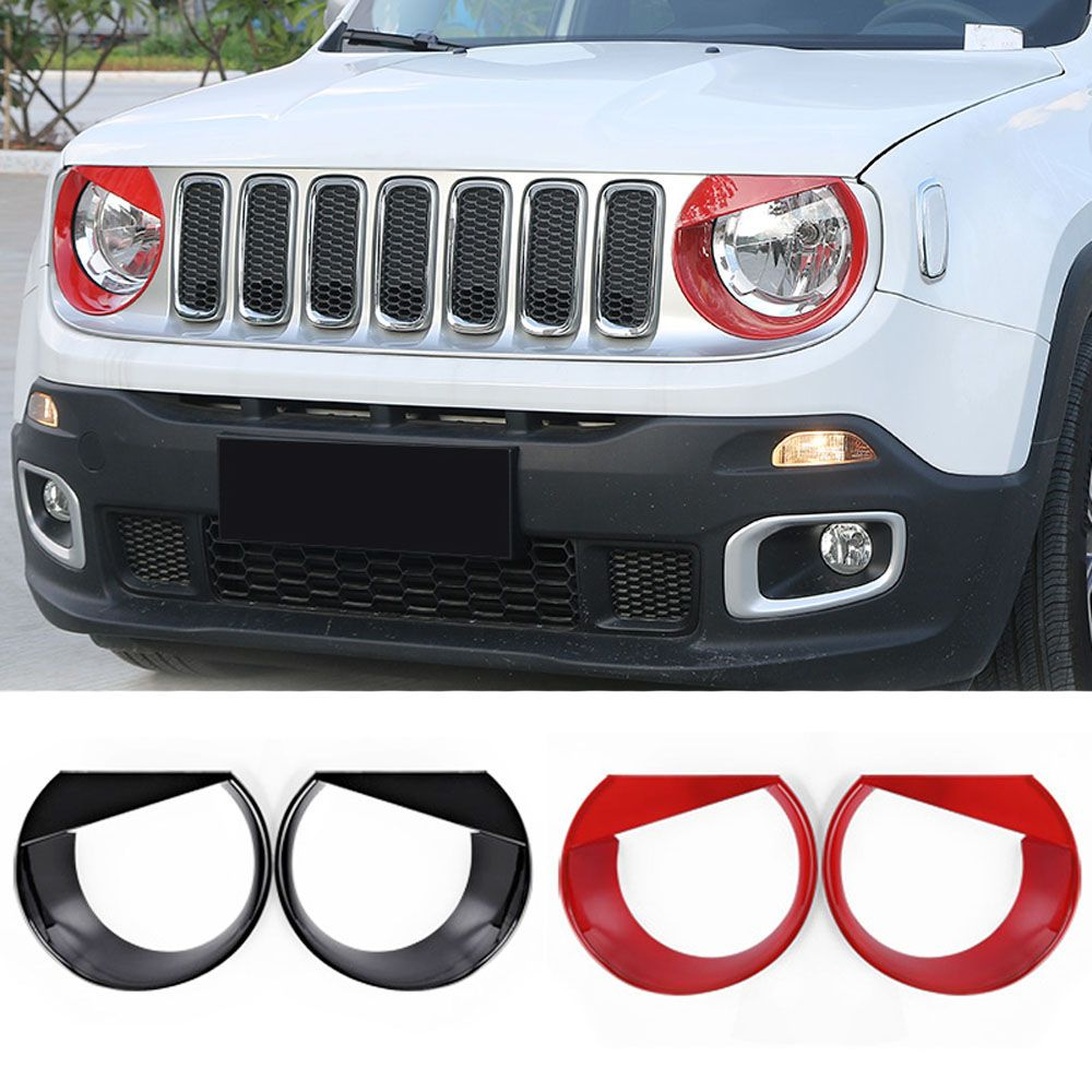 For Jeep Renegade 14-16 Headlight Trim Lamp Cover Frame Case Headlights Ring Bezel Exterior Chromium Styling