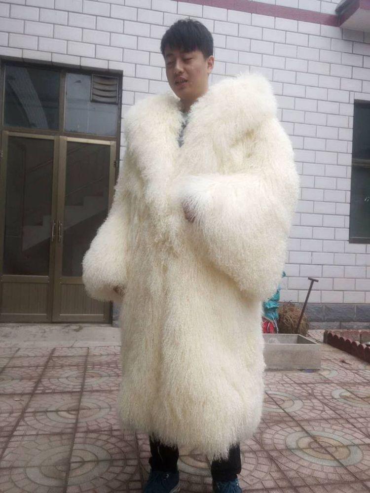 Neue männer und frauen strand wolle pelzmantel dicke warme Lamm Pelz trompete ärmeln lange Mongolei Schafe pelzmantel