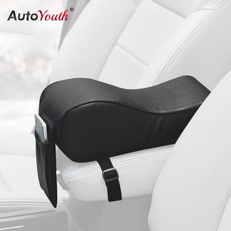 AUTOYOUTH PU Leather Car Armrest Pad Memory Foam Universal Auto Armrests Covers with Phone Pocket for VW/BMW/AUDI/Honda