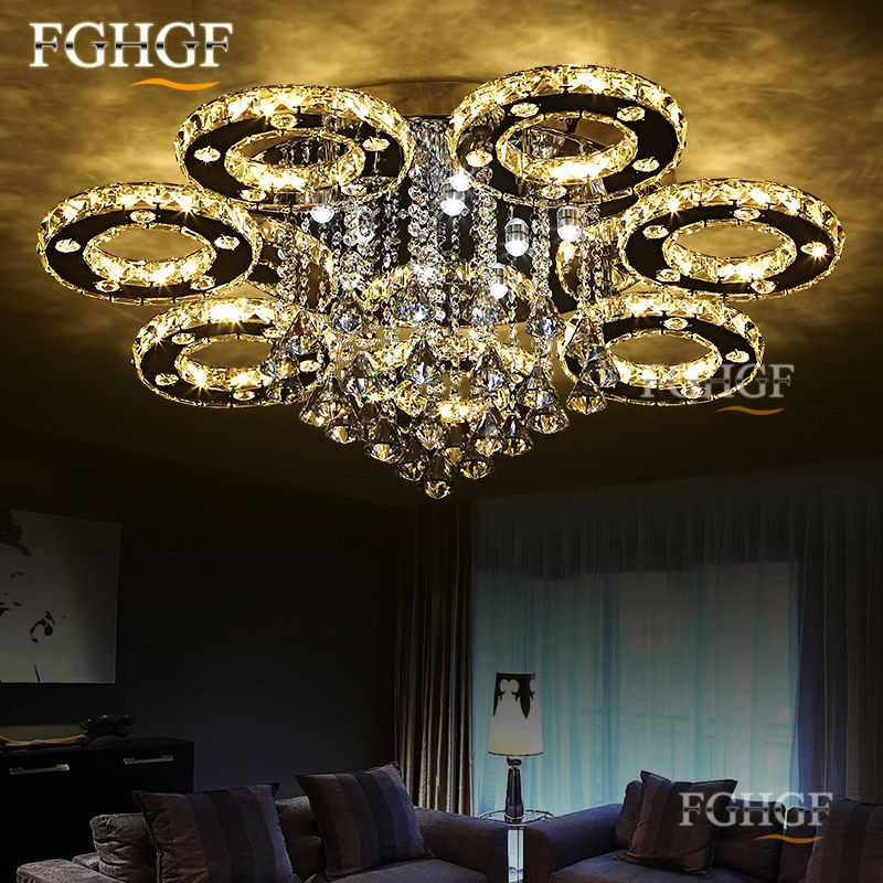 Moderne led-kristallleuchter-licht Runde Kreis Unterputz Kronleuchter lampe wohnzimmer Lustre luminaria mit fernbedienung