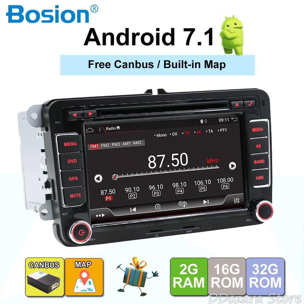 Android 7.1 7 2din Auto DVD für VW POLO GOLF 5 6 POLO PASSAT B6 CC JETTA TIGUAN TOURAN EOS SHARAN SCIROCCO CADDY mit GPS Navi