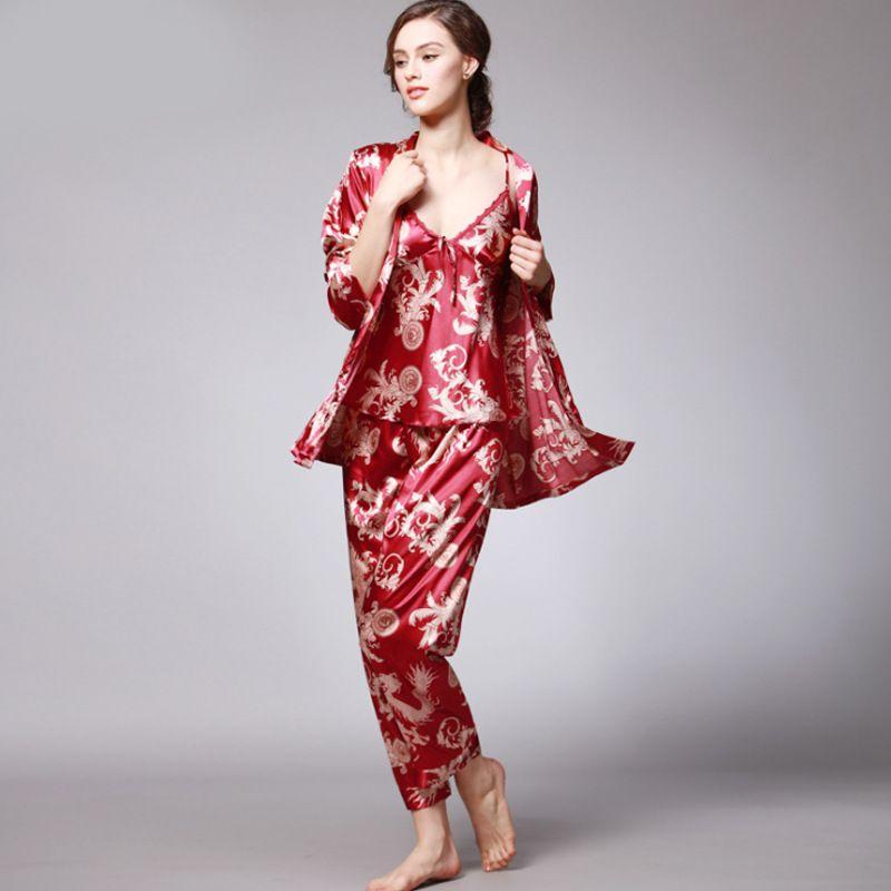 SSH008 Femmes Satin Soie Pyjama Ensemble Femelle 3 pièces Manches longues Vêtements De Nuit Pyjama Chemise De Nuit Femme Printemps Automne Vêtements De Nuit Pyjama
