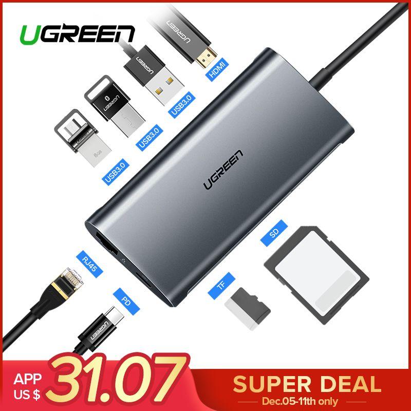 Ugreen USB HUB USB C to HDMI RJ45 Thunderbolt 3 Adapter for MacBook Samsung Galaxy S9 Huawei Mate 20 P20 Pro Type C USB 3.0 HUB