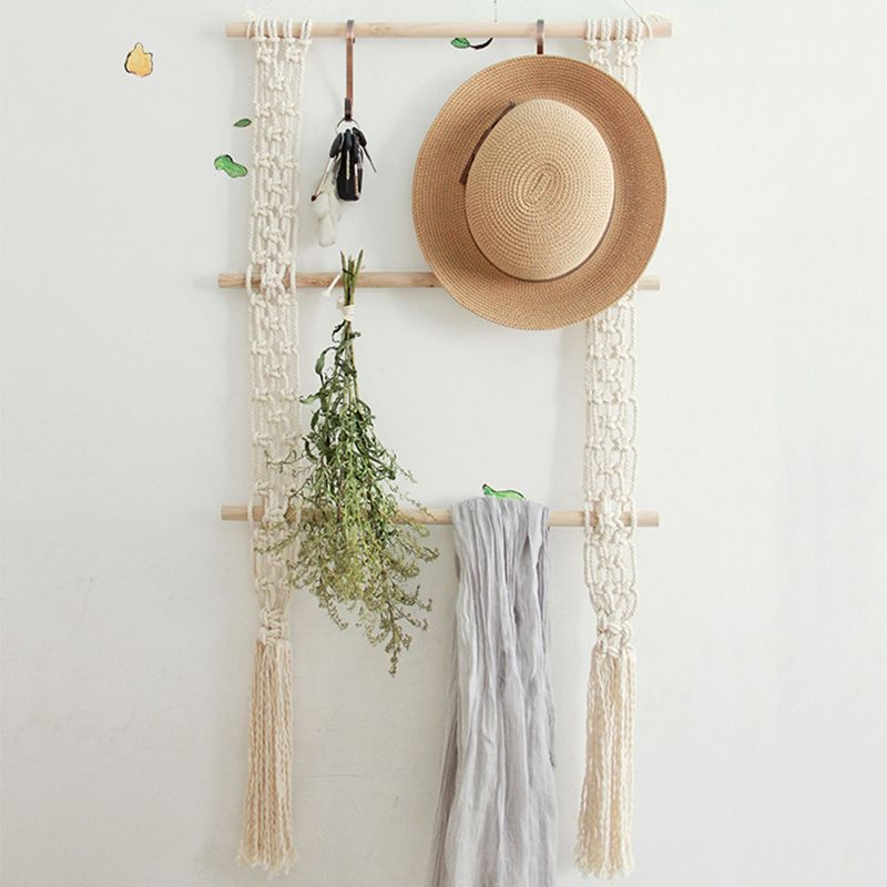 Handmade Macrame tapestry wall hanging Cotton Cord art Tapestry Beige photo frame Crafts Home primitive decor